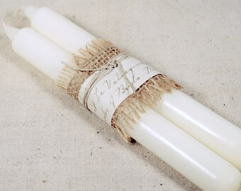 Pair of White Taper Candles * shabby chic * vintage paper * home decor