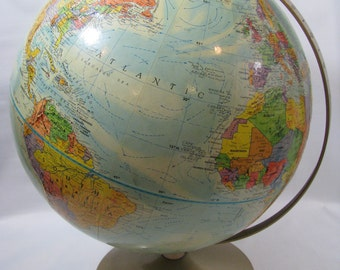 """Vintage Replogle World Nation Series Globe Raised Topographical 12"""" with Metal Stand"""
