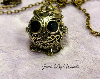 Owls are Cool Aromatherapy Locket, Lava Rock Diffuser, Stress Relief, Calming, Essential Oils to go, Antique Bronze