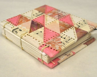 Pink and Cream Coptic Stitch Mini Sketch Journal
