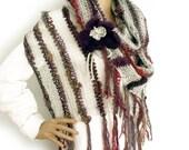 Knit stole, Extra long scarf, Loose knit scarf, Prayer shawl, Boho shawl, Fall scarf, Fall fashion trend, Fall accessory, Flower brooch