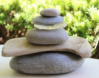 Natural Garden Sculpture / Cairn , Zen Garden , Driftwood , Stone and Seaglass sculpture