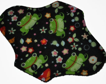 Liner Core- Frog & Toadstool Flannel Reusable Cloth Mini Pad- 7.5 Inches (19 cm)