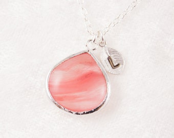 Wedding Jewelry Coral Pink Teardrop Silver Wedding Necklace with Stamped Initial
