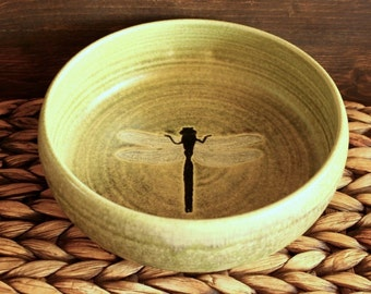 Ceramic DRAGONFLY Bowl - Handmade Green Stoneware Dragonfly Serving Bowl - Ready To Ship