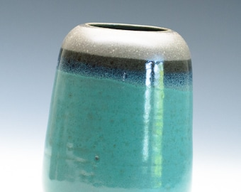 Seashore Aqua Tan Vase / Ceramic Vessel