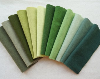 Green Hand Dyed and Felted Wool Fabric in a Wonderful Green Combination Perfect for Rug Hooking, Wool Applique, Quilting, and Sewing