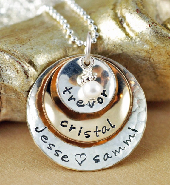 Mixed Metal Mommy Necklace, Personalized Mom Necklace, Hand Stamped Necklace, Keepsake Necklace, Grandma Necklace, Gift for Grandma