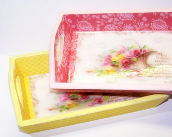 Wooden Tray, Shabby Chic, Pink, Yellow, Roses, Little Girls, Tea Tray, Serving Tray, Tea Party, Gift for Her, Free Shipping, Cottage Chic