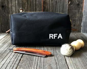 Personalized Toiletry Bag - Canvas Dopp Kit - Groomsmen Gift - Black