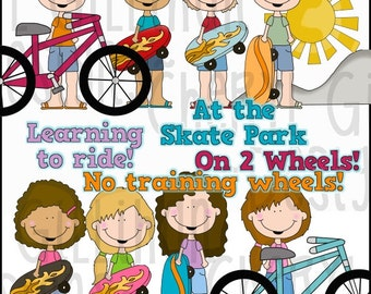 Flip Flop Kids Learn To Ride Clipart Collection - Immediate Download