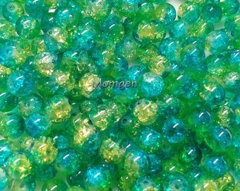 8mm yellow green crackle Glass Beads, green Beads, yellow Beads, 8mm crackle beads, crackle glass  beads  - 20pcs