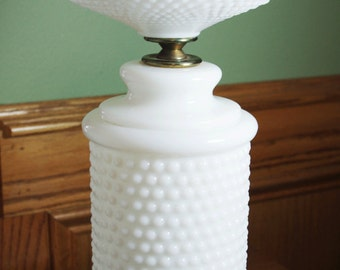 Large Vintage Hobnail Milk Glass Tall Lamp
