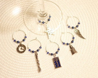 Dr. Who wine glass charms, Tardis, Sonic screwdriver, Dalek, robot, time travel, weeping angel, police box, London, England