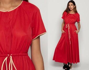 Red Maxi Dress 70s Boho Grecian Party 1970s High Elastic Waist Bohemian Vintage Short Raglan Sleeve Button Up Jersey POCKET Retro Medium