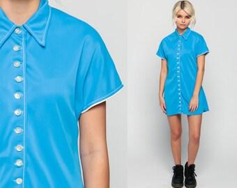 Mod Dress Shirtdress 70s Shift Button Up Micro Mini COLLARED Turquoise Blue Plain 1970s Short Sleeve Vintage Twiggy Shirt Dress Small xs