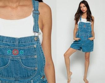 Denim Overall Shorts Shortalls FLORAL Embroidered Print Playsuit 90s Grunge Jean Suspender Blue 1990s Vintage Large