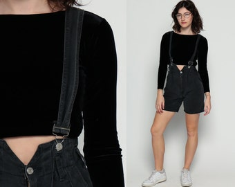 Shortalls Denim Overall Shorts Faded Black Romper SUSPENDER Shorts High Waisted 90s Grunge Jean One Piece Woman 1990s Vintage Small
