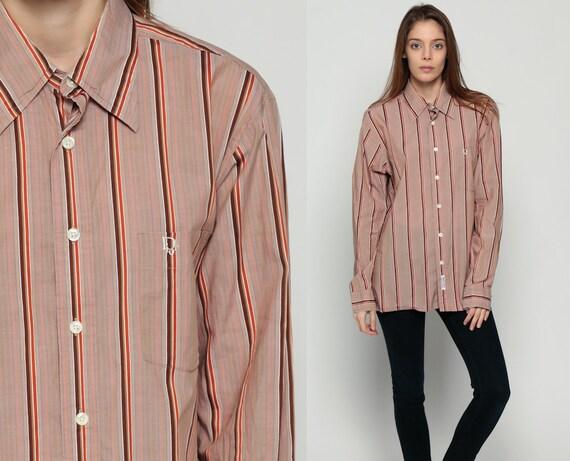 Christian dior shirt 70s shirt striped button up 1970s top for Christian dior button up shirt