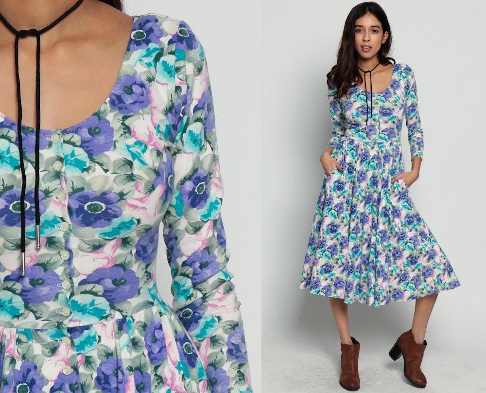 80s Floral Dress Boho Midi Garden Party Purple Button Up Low