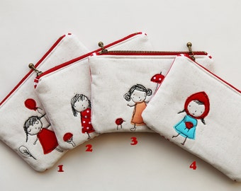 Little Girls Free Motion Embroidery Zipper Pouch