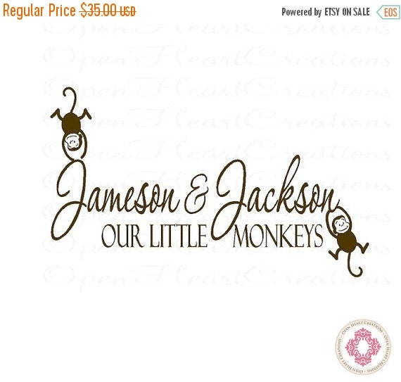 ON SALE Twin Nursery Wall Decal Decor - Two Names with Our Little Monkeys and two monkey accents 22H x 36W Ba0032