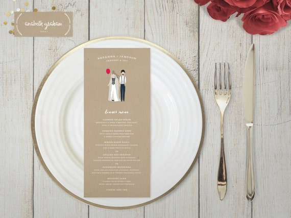 The Avery Wedding Menu and Place Cards - Printed or Printable (Custom Personalized Caricatures)