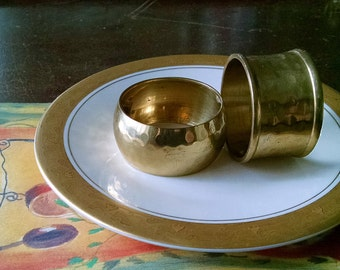Vintage Napkin Rings Hammered Brass Metal Place Setting Table Decor