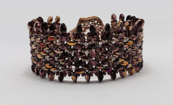 Amethyst and Rose Gold Fringe Beaded Bracelet - Fits 7 1/4 inch wrist Sku: BR1020
