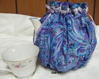 4-5 Cup Tea Pot Cozy Multi Color Blues, Teal, Purple, Gold Foil Accent Paisley/Flower Print