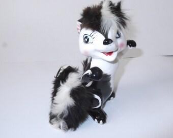 Dancing Happy Skunk with a Big Smile and Fur  Vintage