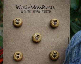 5 Yellow Honeybee Buttons- Handmade Wooden Buttons- Wood- Knitting, Sewing, Craft Buttons- Eco Knitting Supplies