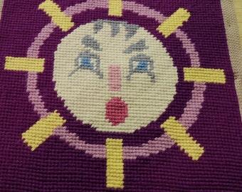Mid Century Small Needlepoint Purple Sun