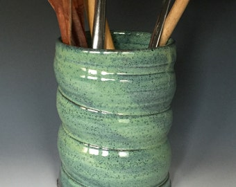 Turquoise Green Stoneware Utensil Holder or Vase with Spiral