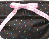 Dog Diapers Britches or Panties Mulicolored Hearts on Black PINK or RED Heart Ribbon
