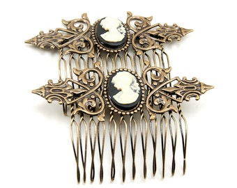 SALE 50% OFF Neo Victorian Cameo Hair Combs with Cream on Black Vintage Female Portrait Cameos - SET of 2 - By Ghostlove