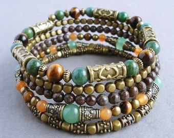 Earthy Gemstone Beaded Memory Wire Bracelet, Tiger Eye, Aventurine, Jasper, Green, Brown, Antique Brass, Boho, Gypsy