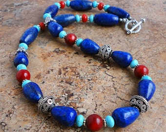Exotic Gemstone Beaded Necklace, Blue Lapis Lazuli, Red Coral, Teal Magnesite, Handmade Jewelry