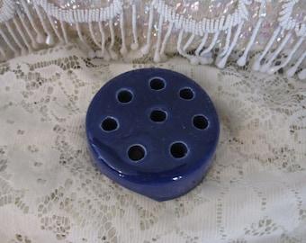 Ceramic Flower Frog Weller Pottery: Dark Blue - 8-hole Flower Frog Ceramic/ Pottery Vintage Flower Frog Weller