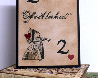 Alice in Wonderland Table Numbers 1-10/ Alice Table Names Playing Cards/ Alice in Wonderland Wedding/ Vintage Alice Table Markers