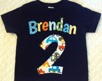 Boys Birthday Shirt- Personalized Name Shirt- One Year Old Birthday Shirt, Two Year Old shirt