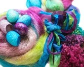 Hand Dyed MEGA Silk and Sparkle Fiber Kit - Haughty Melodic