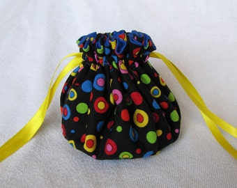 Travel Pouch - Medium Size - Drawstring Jewelry Tote - Fabric Bag - JAZZY CHEERIOS