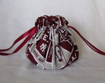 College Team Jewelry Bag - Medium Size - Drawstring Pouch -Fabric Tote - TEXAS A & M AGGIES