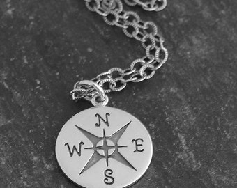 Mens Compass Necklace | Sterling Silver |The Jouney, Spiritual Balance | Nautical Jewelry| Mens Necklace | Mens Jewelry | Yoga Mens Necklace