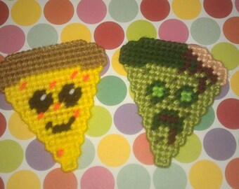 2 Handmade Smiley and Zombie Pizza Magnets