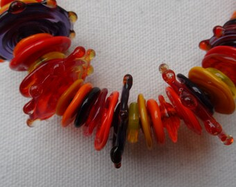 Handmade lampwork necklace in bright colours