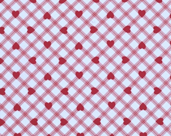 Free Spirit Fabric Tanya Whelan  VALENTINE ROSE-Plaid HEART-Red  1 Yard Cut