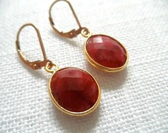 Ruby earrings - red/pink earrings - gold earrings -E A R R I N G S