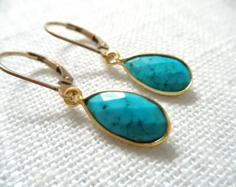 Turquoise earrings - gold earrings - E A R R I N G S